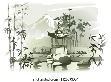 Chinese Arbor Chinese arbor over the pond. Vector imitation of traditional oriental painting. EPS-10.