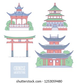 Chinese architectural landmarks. Oriental architecture line art gate pagoda and gazebo. Vector set different traditional national buildings of China.