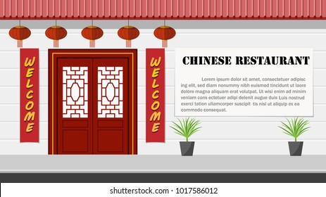 Chinese architecture and restaurant front view, vector