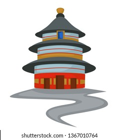 Chinese architecture temple of Heaven isolated holy tower vector China building oriental culture imperial sacrificial altar in Beijing construction cone roof and walls entrance and window path.