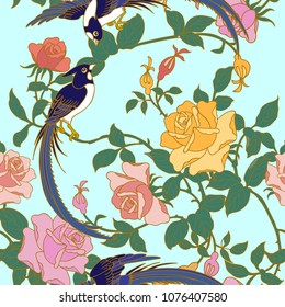 In Chinese art, the paradise flycatchers represent longevity. This is a good blessing in which it wishes you being longevous.