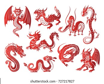 Chinese asia red dragon animal illustrations on white background vector illustration