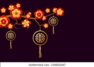 Chinese banner for New Year with a branch of the blossoming tree. Red and gold flowers and Lucky Symbol. Vector EPS10
