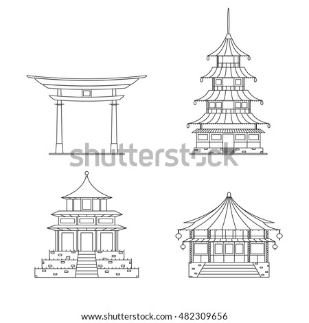 Chinese Building Thin Line Icon Set Stock Vector Royalty Free