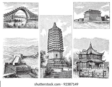 Chinese building / vintage illustration from Meyers Konversations-Lexikon 1897