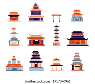 Chinese buildings. China town, temple culture symbol design. Asia architecture, ancient pagoda, flat japanese or korean house utter vector set