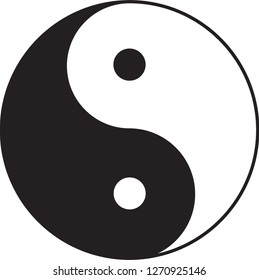 Chinese by origin, a symbol of balance between opposites in the universe.  Yin is the negative, female, lunar, while Yang is positive, male, solar component. Often associated with daoism.