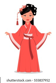 Chinese cartoon girl character in beautiful traditional clothes and with flowers in her hair. Chinese woman vector illustration. Happy Chinese New Year. EPS10