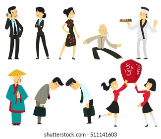 Chinese cartoon people isolated on a white background. Chinese in a traditionally dressed in modern business suits. vector illustration. Chinese men and women.