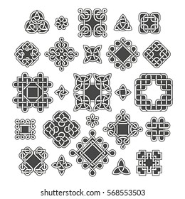 Chinese and celtic endless knots and patterns vector. Set of traditional tattoo, illustration of decoration oriental tattoo.