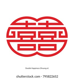 Chinese character double happiness in double circle shape. Chinese traditional ornament design, commonly used as a decoration and symbol of marriage.