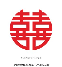 Chinese character double happiness in circle shape. Chinese traditional ornament design, commonly used as a decoration and symbol of marriage.