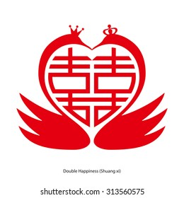 Chinese character double happiness in heart shape with double goose. Chinese traditional ornament design, commonly used as a decoration and symbol of marriage.