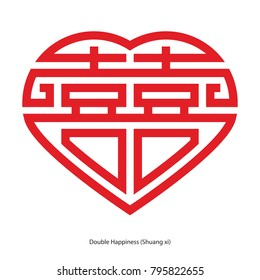 Chinese character double happiness in heart shape. Chinese traditional ornament design, commonly used as a decoration and symbol of marriage.