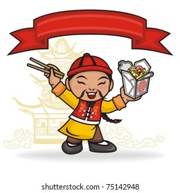 Chinese Character Eating Noodles.  A Chinese male cartoon character eating take out food. You can write anything you want in the top banner.