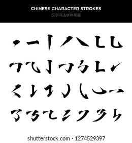 Chinese characters with brush strokes are written in traditional Chinese calligraphy, while those with Oriental ink are written on the side. Chinese tattoo font strokes.