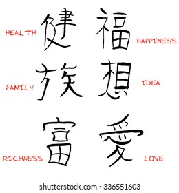 chinese characters with translation. Vector illustration.
