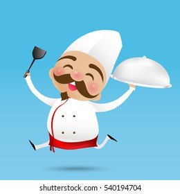 Chinese chef cartoon holding the Turner and served the food with happy smile vector illustration eps10