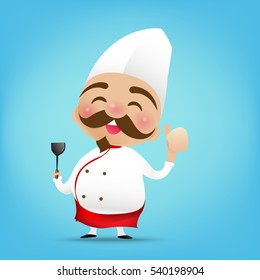 Chinese chef cartoon holding the Turner and thumb up with happy smile vector illustration eps10