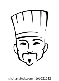 Chinese chef in cartoon style for cafe or restaurant