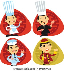 Chinese chefs. Smiling chef with mustaches standing on front of red and gold chinese ornament. Isolated.