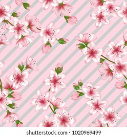 Chinese cherry blossom patter, geometric seamless vector background. Cool sakura branch textile, apricot blossom fabric, japanese cherry spring flowering trees repeating background.
