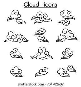 Chinese Cloud , Curl cloud ,Decoration cloud, cloud icon set
