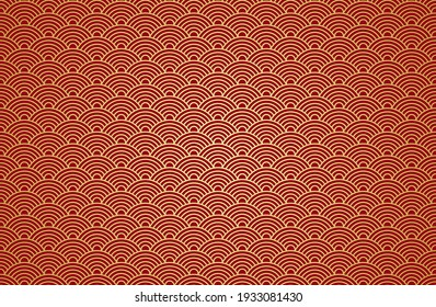 Chinese cloud or river seamless design art pattern vector, gradient gold and red. Illustration of traditional oriental Asian background.