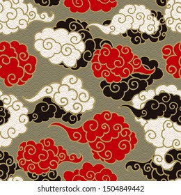 Chinese clouds smoke vector seamless pattern. Japanese, oriental style textile ornament. Golden outline swirls, curls background. Colored Asian traditional holidays postcard backdrop, wrapping texture
