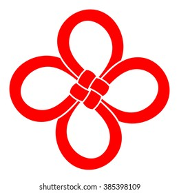 A Chinese Cloverleaf knot. 4 leaf clover is considered to be a good luck symbol. Hand-drawn in red, isolated on white background, for your logo, design or project. Vector illustration.
