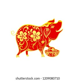 Chinese contemporary modern art red and golden line smile pig zodiac for chinese new year vector illustration eps10