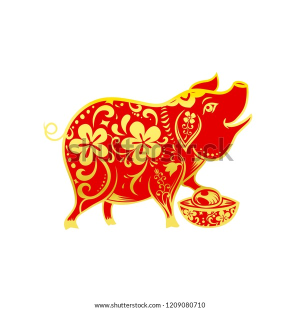 Chinese Contemporary Modern Art Red Golden Stock Vector