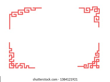 Chinese corner ornament in linear style, vector
