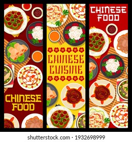 Chinese cuisine food vector banners with Asian rice noodles, meat, vegetable and seafood meal. Shrimp spring rolls, funchoza, beef tongue and radish salad with chilli sauce, fish soup and cucumbers