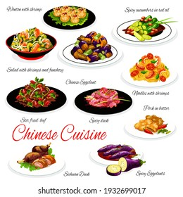 Chinese cuisine food vector dishes of Asian noodles with seafood, vegetables and meat. Udon and funchoza with shrimps, fried wonton dumplings, spicy eggplant and cucumber salad, sichuan duck and beef