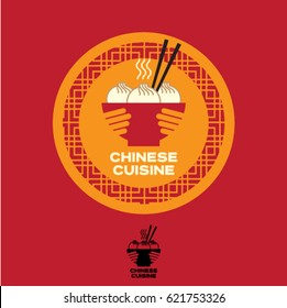 Chinese cuisine logo. Asian food emblem. A bowl in the hands with Chinese dumplings and chopsticks.