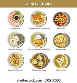 Chinese cuisine traditional dishes flat icons. Peking duck with sauce, seafood noodles and wonton soup, meat dumplings and spicy sour or hot sweet fried chicken. Traditional restaurant menu vector set