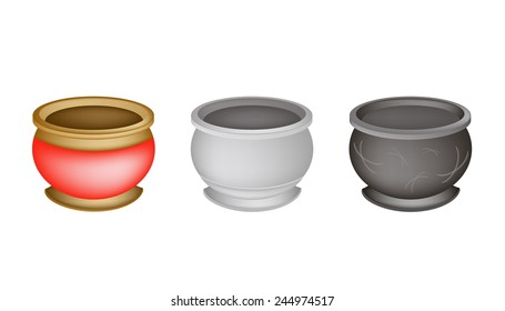 Chinese Cultural, Brass Joss Stick Pots or Chinese Incense Burner Isolated on White Background.