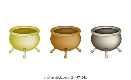 Chinese Cultural, Tree Brass Joss Stick Pots or Chinese Incense Burner Isolated on White Background.