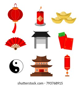 Chinese Custom Simple Icon Vector Illustration Graphic Set