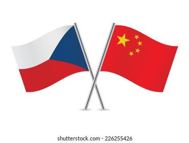 Chinese and Czech flags. Vector illustration.