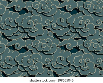 chinese dark clouds with shadow, seamless background