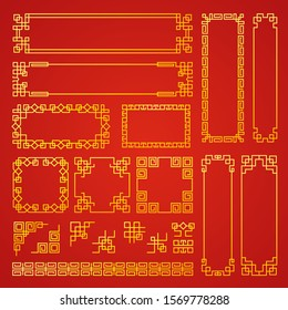 Chinese decoration frames. Traditional oriental borders asian decoration banners frames vector collection