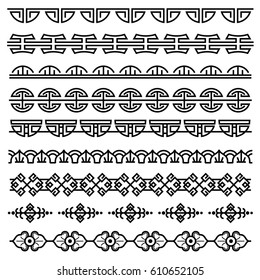 Chinese decoration, traditional antique korean pattern, vector asian seamless borders set. Korean border pattern, illustration of traditional oriental japanese pattern.