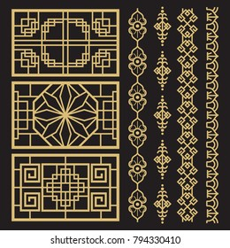 Chinese decoration, traditional antique korean borders and frames. Chinese and korean traditional pattern. Vector illustration