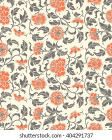 Chinese decorative floral vintage background with flowers of peony. Seamless ornamental antique pattern backdrop for fabric, textile, wrapping paper, card, invitation, wallpaper, web design.