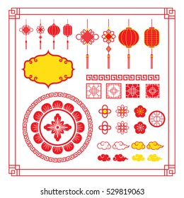Chinese Design Elements, Ornaments, Decoration, Frame, Border, Lantern, Knot, Cloud