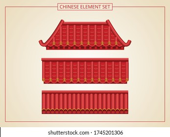 Chinese door and entrance with red roof in papercut style. Suitable for graphic, banner, card, flyer and many purpose