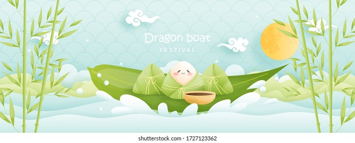 Chinese Dragon boat festival with rice dumplings, cute character design vector illustration.