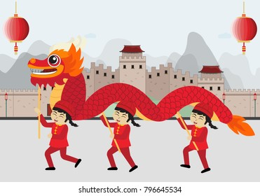 chinese dragon dance happy chinese new year